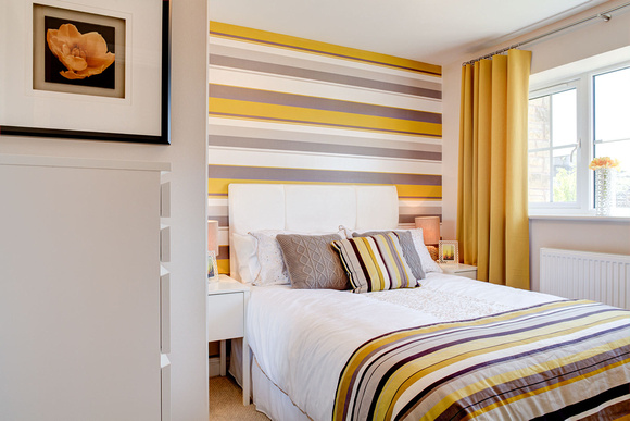 Showhome, bedroom, yellow theme.